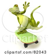 Royalty Free RF Clipart Illustration Of A 3d Pico Gecko Character Skateboarding And Waving