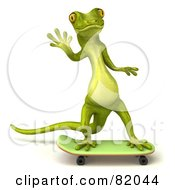 Royalty Free RF Clipart Illustration Of A 3d Pico Gecko Character Waving And Skateboarding
