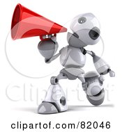 Royalty Free RF Clipart Illustration Of A 3d Robot Boy Character Announcing And Walking by Julos