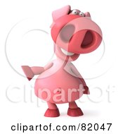 Royalty Free RF Clipart Illustration Of A 3d Pookie Pig Character Facing Front And Gesturing Left by Julos
