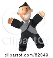 3d Business Toon Guy Jumping