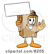 Clipart Picture Of A Cardboard Box Mascot Cartoon Character Holding A Blank Sign