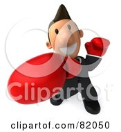 Royalty Free RF Clipart Illustration Of A 3d Business Toon Guy Boxing And Punching by Julos