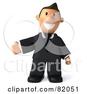 Royalty Free RF Clipart Illustration Of A 3d Business Toon Guy Standing And Holding His Arm To The Left