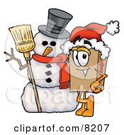 Clipart Picture Of A Cardboard Box Mascot Cartoon Character With A Snowman On Christmas