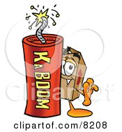 Clipart Picture Of A Cardboard Box Mascot Cartoon Character Standing With A Lit Stick Of Dynamite by Toons4Biz