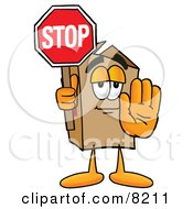 Clipart Picture Of A Cardboard Box Mascot Cartoon Character Holding A Stop Sign