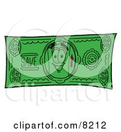 Clipart Picture Of A Cardboard Box Mascot Cartoon Character On A Dollar Bill by Toons4Biz