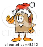 Clipart Picture Of A Cardboard Box Mascot Cartoon Character Wearing A Santa Hat And Waving by Toons4Biz