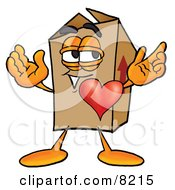 Clipart Picture Of A Cardboard Box Mascot Cartoon Character With His Heart Beating Out Of His Chest by Toons4Biz