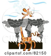 Royalty Free RF Clipart Illustration Of A Tall Giraffe Gasping For Fresh Air Above A Layer Of Factory Smog