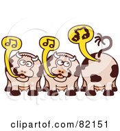 Royalty Free RF Clipart Illustration Of A Group Of Burping And Farting Singing Cows With Music Notes by Zooco