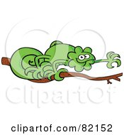 Royalty Free RF Clipart Illustration Of A Curly Tailed Green Chameleon Walking On A Tree Branch by Zooco