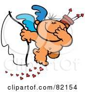 Giggling Nude Cupid Holding A Bow And Covering His Mouth While Dropping Hearts