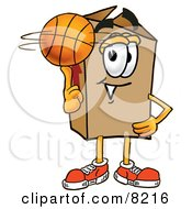 Clipart Picture Of A Cardboard Box Mascot Cartoon Character Spinning A Basketball On His Finger by Toons4Biz