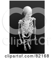Royalty Free RF Clipart Illustration Of A 3d Aerial View Of A Human Skeleton On Dark Gray