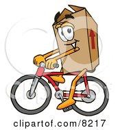 Cardboard Box Mascot Cartoon Character Riding A Bicycle