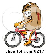 Clipart Picture Of A Cardboard Box Mascot Cartoon Character Riding A Bicycle by Toons4Biz