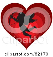 Royalty Free RF Clipart Illustration Of A Black Cupid Silhouette Over A Gradient Red Heart by Rosie Piter