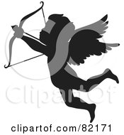 Royalty Free RF Clipart Illustration Of A Black Cupid Silhouette Shooting An Arrow by Rosie Piter