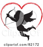 Royalty Free RF Clipart Illustration Of A Red Painted Heart Above A Black Cupid Silhouette by Rosie Piter