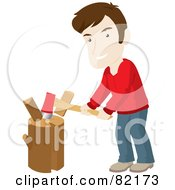 Caucasian Man Smiling While Chopping Wood On A Stump