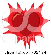 Royalty Free RF Clipart Illustration Of A Red Valentine Heart Over A Burst by Rosie Piter