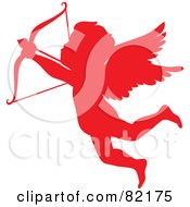 Royalty Free RF Clipart Illustration Of A Red Cupid Silhouette Shooting An Arrow by Rosie Piter