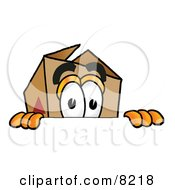 Clipart Picture Of A Cardboard Box Mascot Cartoon Character Peeking Over A Surface by Toons4Biz