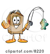 Clipart Picture Of A Cardboard Box Mascot Cartoon Character Holding A Fish On A Fishing Pole by Toons4Biz