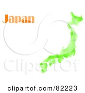 Royalty Free RF Clipart Illustration Of A Green Halftone Japan Map With Text by MacX