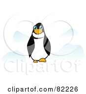 Royalty Free RF Clipart Illustration Of A Blue Eyed Penguin With Blue Rocks by MacX