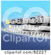Royalty Free RF Clipart Illustration Of A 3d Search Engine Optimization Text With Light On Blue by MacX
