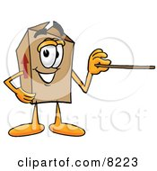 Clipart Picture Of A Cardboard Box Mascot Cartoon Character Holding A Pointer Stick by Toons4Biz