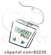 Royalty Free RF Clipart Illustration Of A Container Of Mint Dental Floss
