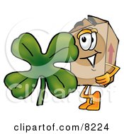 Clipart Picture Of A Cardboard Box Mascot Cartoon Character With A Green Four Leaf Clover On St Paddys Or St Patricks Day