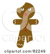Royalty Free RF Clipart Illustration Of A Scared Christmas Gingerbread Man Cookie With Bites by Pams Clipart