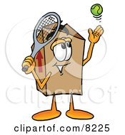 Clipart Picture Of A Cardboard Box Mascot Cartoon Character Preparing To Hit A Tennis Ball by Toons4Biz
