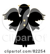 Royalty Free RF Clipart Illustration Of A Black Christmas Angel With A Halo And Gold Stars by Pams Clipart