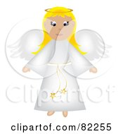 Blond Christmas Angel In A White Robe