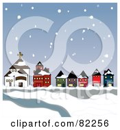 Royalty Free RF Clipart Illustration Of Snow Falling Down On A Town And River