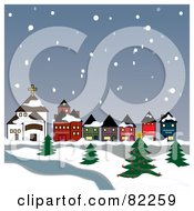 Royalty Free RF Clipart Illustration Of Snow Falling Down On A Village And River
