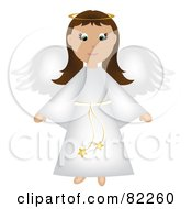 Royalty Free RF Clipart Illustration Of A Brunette Christmas Angel In A White Robe by Pams Clipart