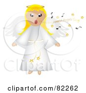 Royalty Free RF Clipart Illustration Of A Blond Singing Angel In A White Robe