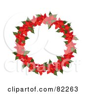 Royalty Free RF Clipart Illustration Of A Red Poinsettia Christmas Wreath by Pams Clipart