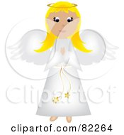 Blond Praying Angel In A White Robe