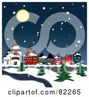 Royalty Free RF Clipart Illustration Of A Moon Over A Snowy Winter Village On A River