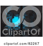 Royalty Free RF Clipart Illustration Of A 3d Abstract Blue Glowing Cube In Gray Cubes