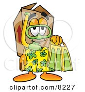 Clipart Picture Of A Cardboard Box Mascot Cartoon Character In Green And Yellow Snorkel Gear by Toons4Biz