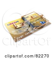 Royalty Free RF Clipart Illustration Of A 3d Credit Card Trap Ready To Spring by Leo Blanchette